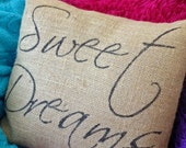 Sweet Dreams burlap pillow