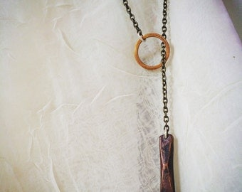 Copper and brass weighted lariete necklace
