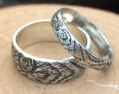 Wedding band set KNOTTY PINE branch twig wood ring mens woodgrain ring  sterling silver Made to Order