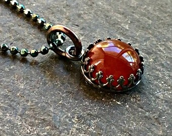 Carnelian Necklace Sterling Silver Crown Bezel Red Orange Oxidized ON SALE