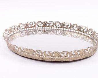 Vintage Oval Vanity Mirrored Tray Gold Floral Metalwork - Mirror Perfume Holder