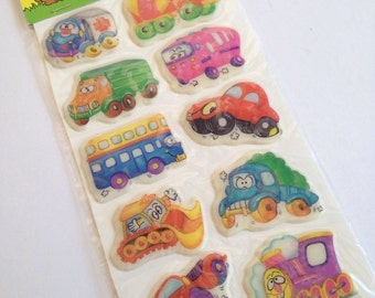Funny Colorful vehicles cars trains trucks tractors - Puffy 80s Scrapbook Stickers - 1 Sheet