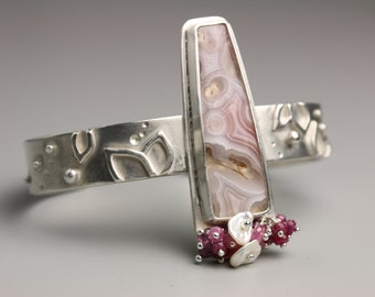 Agua Nueva Agate Cuff Bracelet with Pink Sapphire and Keshi Pearl Fringe