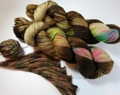 RESERVED for Nola -- Hand Dyed Superwash Merino and Nylon 4-Ply Sock Fingering Yarn -- Speckled -- Coffee and Donuts