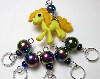Hand Made Stitch Markers -- I Wanna Pony! (Yellow)