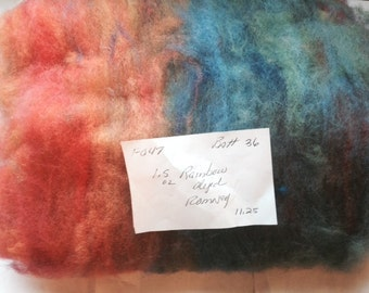 Batt036 Hand Rainbow Dyed and Carded Soft Romney Lamb 1.5 OZ Batt
