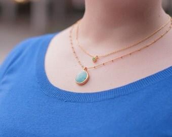 Boho Layering Necklace. Semiprecious necklace. Turquoise layering necklace. Blue jade necklace.