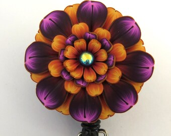 Orange and Purple Flower ID Badge Reel, Scissor Keeper, ID Lanyard, Scissor Fob
