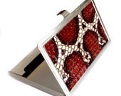 Red, Black, and Ivory Snakeskin Leather Card Case - by UNEARTHED