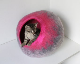 Cat Cave / Bed / House / Vessel - Hand Felted Wool - Gray to Hot Pink Bubble - Crisp Contemporary Design