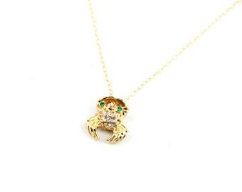 Crabby - Vintage Rhinestone Crab Pin Necklace