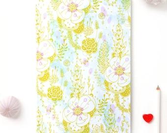 Notebook, Journal, Sketchbook, Planner - Green Blossom Floral Pattern