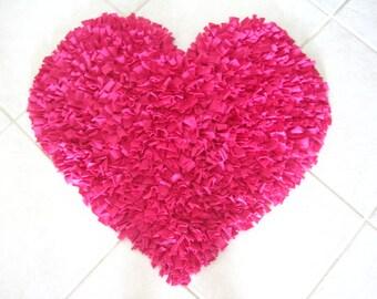 PINK HEART Cotton Shag Rug