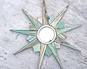 Aqua Starburst Mirror, Decorative Mirror, Coastal Decor, Wood Wall Art, Reclaimed Wood Mirror, Beach House Art, Blue Sunburst Mirror,