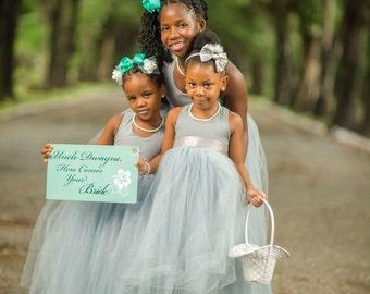 Full Length Flower Girl Tulle Dresses, Flower Girl Dress, Tulle Tutu Princess Dress, Toddler Flower Girls Dress, Wedding Dress Baby, Ivory