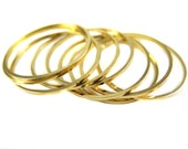 Large Gold Plated Circle Shape Wire Charms (10x) (K215-C)
