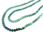 Tiny Mermaid Green Electroplated Hematite Heart Beads - (50x) (NS626)