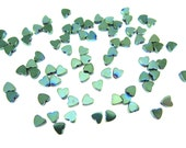 Tiny Mermaid Green Electroplated Hematite Heart Beads - (50x) (NS567)