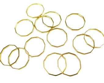 Gold Plated Decagon Shape Wire Charms (12x) (K212-C)
