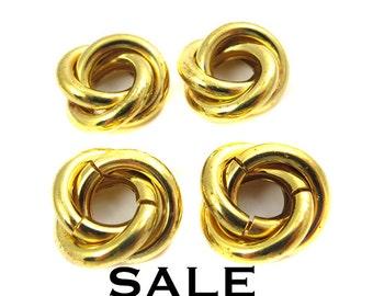 HUGE Vintage Gold Plated Spiral Knot Charms (4X) (V204) SALE - 25% off