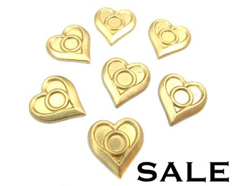 Brass Heart Stamping with Center Bezel (24x) (V212) SALE - 66% off