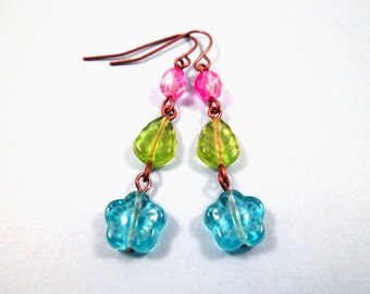 Flower Earrings, Blue Blossoms, Color and Copper Dangle earrings, FREE Shipping U.S.
