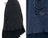Asymmetric Drawstring Waist Sweater Fleece Skirt M/L/XL Medium Large Handmade Ready to ship Floral Flower