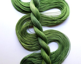 "Size 20 ""Leafy"" hand dyed thread 6 cord cordonnet tatting crochet cotton"