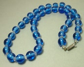 Vintage/ estate 1950s kitsch, blue glass and clear crystal glass bead costume necklace - jewelry / jewellery