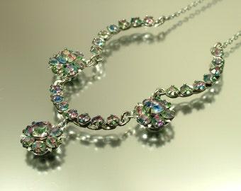 Vintage jewelry 1940s Art Deco chrome & rainbow iris glass diamante rhinestone/ paste costume necklace -  jewellery, daisy flower