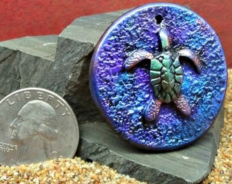 36 mm round Sea Turtle Pendant - handmade - simulated Raku - Polymer Clay
