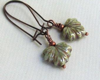Green Maple Leaf Earrings, Antique Copper Earwires, Winter Frost Picasso Luster Glass, Wire Wrapped Autumn Earrings