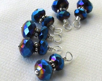 Metallic Blue Crystal Charm Dangles, Silver Wire Wrapped Rondelles - 6pc Set Handmade Charms, Beaded Jewelry Findings