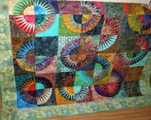 """BATIK New york Beauty Scrappy Style 62"""" x 70"""" in aqua, teal, red, brown, yellow"""
