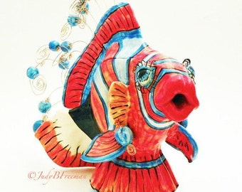Ceramic Handmade Fish Tea Pot Harlequin Tuskfish Made to Order TPT0009