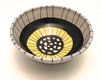 Ceramic Bowl Ice Cream Cereal Soup Handmade Wheel Thrown Iceberg Blue Black Yellow White Ready to Ship Stoneware Dinnerware BWL001
