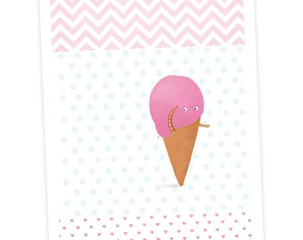 Cute ice cream cone  - art print