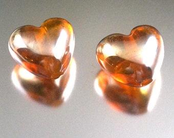 Transparent Yellow/Gold Glass Hearts (pr)