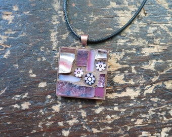 Pink Flowers Mosaic Pendant with Copper Bezel