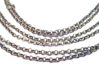 brass plated 2mm rolo chain, S066, pick your amount