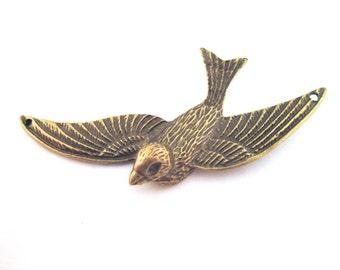 2 bird connecter pendants, 75x39mm, D237