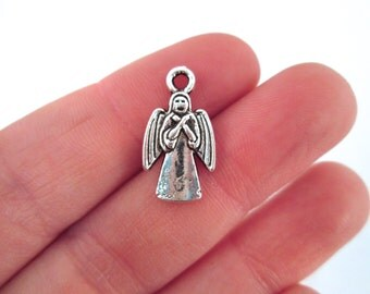 Small Doctor Who Weeping Angel Pendant Charms, Silver Plated, Pick the Amount you Want to Purchase