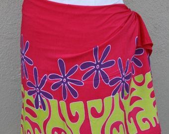 Hot pink, green, purple  tattoo tiare premium Tahitian pareo Full or half sized, Tahitian costume skirt