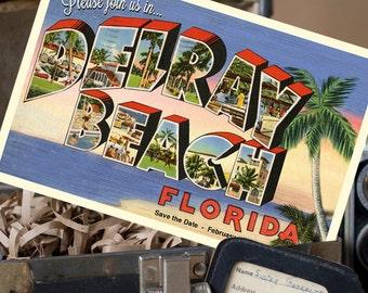 Vintage Large Letter Postcard Save the Date (Delray Beach, FL) - Design Fee
