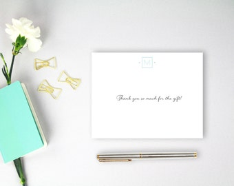 Modern Monogram Flat Note Cards - Set of 25