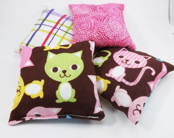 Cat Bean Bags - 4 Mini - Sensory Toy / Party Game / Party Favors - Beanbag Toss Game - Cute Kitty - Natural Toy - Girls Gift Idea