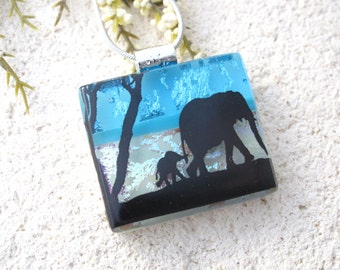 Mother & Baby Elephant, Elephant Necklace, Dichroic Glass Pendant, Fused Glass Jewelry, Dichroic Jewelry, Elephant Jewelry,  072316p100