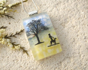 Dog Necklace, Dichroic Glass Jewelry, Dichroic Pendant, Dog In Park, Fused Glass Jewelry, Necklace, Glass Jewelry Dog Walking, 121315p104
