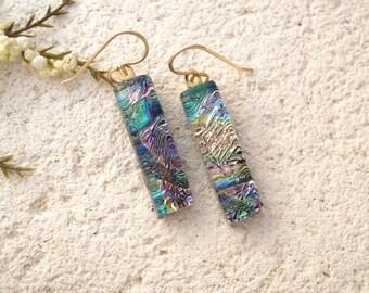 Dangle Drop Earrings,Gold Purple Earrings, Dichroic Earrings, Fused Glass Jewelry, Metallic Earrings,14KT Gold Filled, Earrings 022615e104