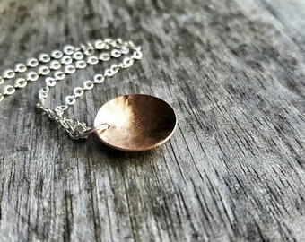 Reserved - Copper Concave Disc, Simple Necklace - Pool